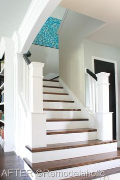 Stair Makeover and Custom Newel Posts remodelaholic.com #stairs #remodel #before_and_after