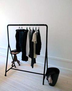 Ikea turbo clothing rack via Remodelista Ikea Clothing Storage, Ikea Clothes Rack, Clothes Rail, Clothing Racks, Clothing Organization, Clothes Storage, Kids Clothing, Clothes Hanger, Ikea Laundry