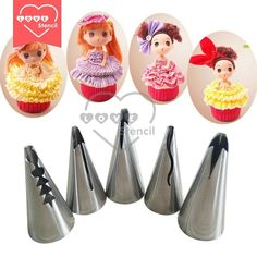 5 piece Stainless Steel Barbie doll skirt lace Nozzles | Icing Piping Tips Pastry Tubes Set Cake Decorating Tools