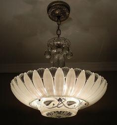 Art Deco | Large Vintage 1940s American Art Deco CREAM ECRU Glass PETAL Ceiling ...