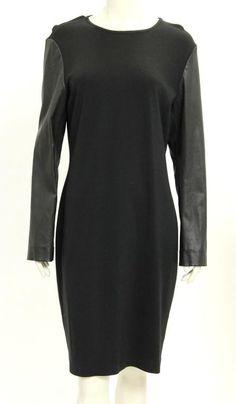 St. John Dress (Pre-owned Black Knit & Leather Sleeve St John Designer Dress)
