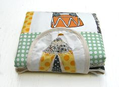 Changing pad in patchwork with screen printed elephant by normadot, $53.00