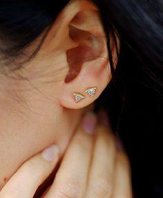 Cartilage Silver Ear Cuff, Ear Cuffs No Piercing, Non Pierced Ear Cuff, Sterling Silver Ear Cuff - Custom Jewelry Ideas Double Earrings, Multiple Earrings, Bar Stud Earrings, Garnet Earrings, Dainty Earrings, Crystal Earrings, Diamond Earrings, Pierced Earrings, Claires Ear Piercing
