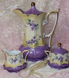 Porcelain Chocolate /Coffee Set HP Vintage Chic Violets- not a tea pot, but very pretty~ Chocolate Pots, Chocolate Coffee, Vintage Dishes, Vintage Tea, Vintage Tableware, Vintage Party, Tea Cup Saucer, Tea Cups, Sweet Violets