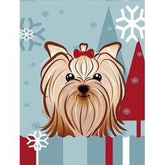 Caroline's Treasures Winter Holiday Yorkie Yorkishire Terrier 2-Sided Garden Flag