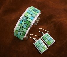 Tommy Jackson Rare Gem Grade Carico Lake Turquoise Raised Inlay Bracelet and Matching Dangle Earrings