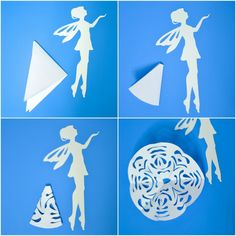 If you like cutting snowflakes out of paper, make a paper snowflake fairy with our free printable template! A great winter craft for kids that can be used as a Christmas tree ornament. Paper Snowflake Designs, Paper Snowflake Template, Paper Snowflakes, Fairy Templates, Paper Cutting Templates, Panda Decorations, Paper Christmas Decorations, Diy Arts And Crafts, Paper Crafts