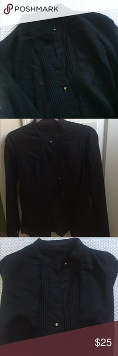 💜EXPRESS STUDIO Black Buttondown💜 Dressy button down, see through with small round diamond like buttons.  Perfect for many occasions! Express Tops Button Down Shirts