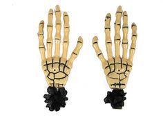 Hairy Scary Bone Skeleton Halloween Hades Hands w Black Hair Clip Set [HS05BonewBlack] - $12.00 : Mystic Crypt, the most unique, hard to find items at ghoulishly great prices!