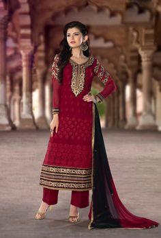 Maroon Georgette Pakistani Style Suit 65590