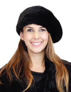 Black Knitted Mink Beret at David Appel Furs Beverly Hills