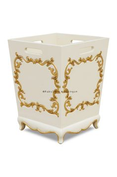 Meet the classiest waste bin you've ever seen! Don't let a dull old plastic trash bin draw unwanted attention. Disguise your waste in style with the new Arabella baroque waste receptacle! Arabella adds style and personality into your room, allowing nothing in your room be boring. Fashionable and functional, the Arabella baroque waste bin is a stunning example to never settle for just average!   Size: W: 12 H: 15 L: 12 (approx)