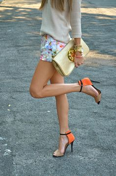 floral shorts, spring knit, strappy sandals, gold