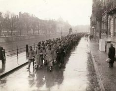 Prisoners of War from the German Military Police force and Gestapo agents of the city of Strasbourg are led to the 3rd Infantry Division. POW are escorted by the French FFI.