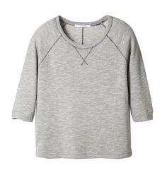 SWEET Sweat en molleton gris piqué et bouclé beige à l'intérieur. Manches longueur ¾.