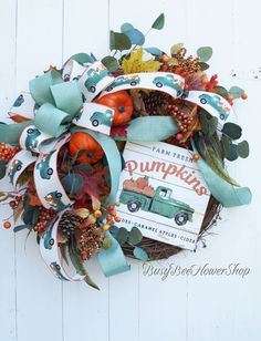 Farm Pickup Truck Wreath with Pumpkins for Fall Front Porch, Front Door Fall Wreath, Fall Grapevine Wreath, Farmhouse Fall Home Decor Fall Home Decor, Autumn Home, Holiday Decor, Grapevine Wreath, Wreath Fall, Bee On Flower, Hot Apple Cider, Grape Vines, Christmas Wreaths