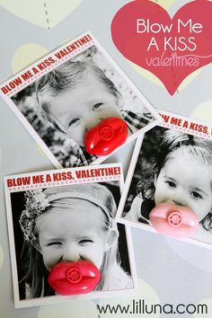 Blow Me A Kiss Valentines. LOVE these! Free prints on { lilluna.com } #valentines