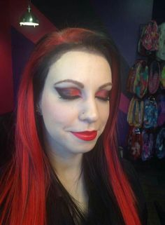 Red & Black themed makeup and hair