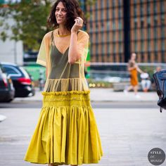 "* STYLE DU MONDE * ❤ on Instagram: ""#New on #STYLEDUMONDE http://www.styledumonde.com with @yasminsewell #YasminSewell at #london #fashionweek #lfw #sheer #mustard #dress #outfit #ootd #streetstyle #streetfashion #fashion #mode #style"""