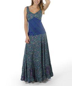 Coline Teal Floral Maxi Dress