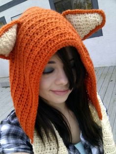 Crochet Wool Fox Scoodie this would be cute on my son