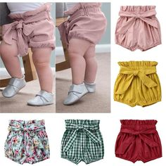 Cute Toddler Baby Girls Clothes Cotton Shorts with Bow Bloomers Lace-up Bow Floral Plaid Mustard Pink Burgundy Newborn- Dresses Kids Girl, Kids Outfits, Baby Outfits, Baby Girls Clothes, Toddler Girl Shorts, Baby Dresses, Baby Girl Fashion, Kids Fashion, Curvy Fashion