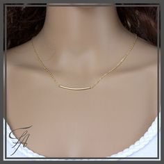 Tiny gold curved tube necklace,Gold necklace,Dainty Necklace,Everyday,Simple,Birthday,Wedding,Bridesmaid jewelry,Minimalist Jewelry,Layer by FashionArtJewelry on Etsy