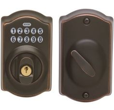 Schlage electronic keypad door lock - aged bronze ... no more remembering keys!