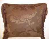 Decorative Pillow with Chocolate Brown Large Damask and Bullion Fringe Traditional Pillows, Gold Bullion, Burgundy And Gold, Fabric Swatches, Chocolate Brown, Damask, Decorative Pillows, Feather, Outdoor Blanket