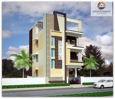 in provides best house front elevation designs in India we can give elevation designs for any plan like single floor double floor small bungalow modern traditional any type get latest and unique elevation designs and make your home perfect House Paint Exterior, Exterior House Colors, Exterior Design, House Outside Design, House Front Design, Building Elevation, House Elevation, 3 Storey House Design, Normal House