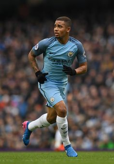 Gabriel Jesus Photos - Manchester City player Gabriel Jesus in action during the Premier League match between Manchester City and Swansea City at Etihad Stadium on February 5, 2017 in Manchester, England. - Manchester City v Swansea City - Premier League