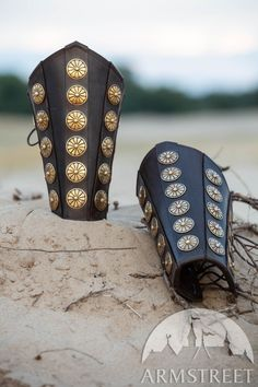Leather bracers with brass accents for your Roman character. Signature materials quality and etching, as always at ArmStreet. Available in: brown leather, black leather, brass