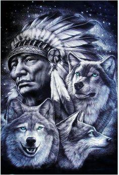 Velho com lobos