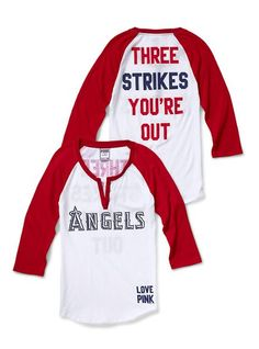 Los Angeles Angels Henley Baseball Tee - Victoria's Secret Pink® - Victoria's Secret
