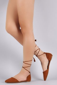 Bamboo Suede Tassel Pointy Toe Lace-Up Flat