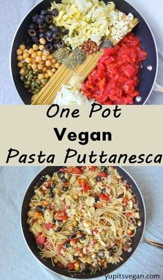 One pot spaghetti alla puttanesca: a fast & hearty vegan pasta dish with olives, capers, chickpeas and artichoke hearts! #vegan