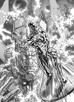 Galactus and Silver Surfer WIP by Felipe Massafera Marvel Images, Marvel Art, Marvel Dc Comics, Marvel Heroes, Cosmic Comics, Silver Surfer Comic, Avengers, Western Comics, Marvel Drawings
