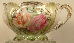 R S Prussia  Footed Hand Painted Flowers Tea Cup