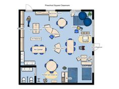Square Shaped Classroom, Preschool Environment Design Idea Physical Environment, Environment Design, School Ideas, Physics, Preschool, Floor Plans, Classroom, Class Room, Kid Garden