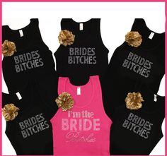 Set of 6 Bachelorette Party Tank Tops by ABridalShop on Etsy