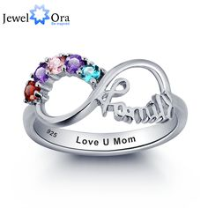 Personalized Engrave Birthstone Infinity Family Jewelry Colorful Cubic Zirconia 925 Sterling Silver ring (JewelOra RI101787)