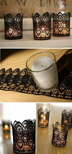 I might need some of this stuff for my house! haha DIY Black Lace Candles for Halloween. These stunning handmade pieces can be arranged on tables around the centrepiece to add a touch of vintage elegance to the Halloween décor. Diy Candle Holders, Diy Candles, Lace Candles, Ideas Candles, Vintage Candles, Scented Candles, Diy Centerpieces, Diy Wedding Decorations, Halloween Wedding Centerpieces