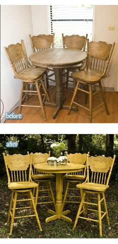 Yellow Pub Style Table and Chairs #diy #beforeafter