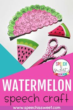 This watermelon craft is perfect for summer themed speech therapy! It can also be used in spring or during the end of the year! It can be used to address articulation, apraxia, phonology, language, and more! It's very versatile and easy! Christmas Speech Therapy, Preschool Speech Therapy, Articulation Therapy, Speech Language Pathology, Speech And Language, Watermelon Crafts, Apraxia, Fun Arts And Crafts, Special Needs Kids