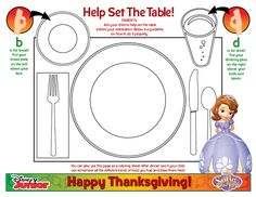 Sofia the First Thanksgiving table setting