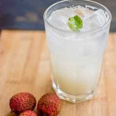 Lychee Ginger Cooler Recipe Beverages with lychees, ginger, sugar, lemon juice, basil, soda