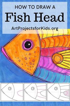 Learn how to draw a Fish Head with this fun and easy art project for kids. Simple step by step tutorial available. art lessons How to draw a Fish Head Drawing Projects, Easy Art Projects, Drawing Lessons, Projects For Kids, Art Lessons For Kids, Art Education Projects, Kindergarten Art Projects, Baby Drawing, Drawing For Kids