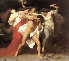 """The Remorse of Orestes"" by William Bouguereau. Orestes murders his mother and is tormented by The Furies, beings who personify the anger of the dead."