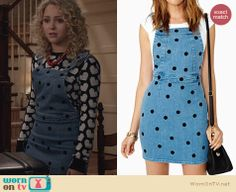 Carrie's denim polka dot overall dress on The Carrie Diaries. Outfit Details: http://wornontv.net/24389 #TheCarrieDiaries #fashion