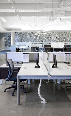 Modern office workstations with our Vion task seating. Office Table Design, Corporate Office Design, Modern Office Design, Workspace Design, Office Interior Design, Corporate Offices, Space Interiors, Office Interiors, Office Dividers